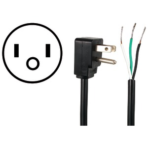 Certified Appliance Accessories(R) 15-0333 10-Amp 90deg -Angle Plug Head Power Supply Cord, 3ft