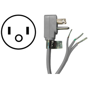 Certified Appliance Accessories(R) 15-0346 15-Amp 90deg -Angle Plug Head Power Supply Cord, 6ft