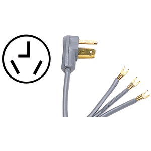 Certified Appliance Accessories(R) 90-1010 3-Wire Open-Eyelet 30-Amp Dryer Cord, 4ft