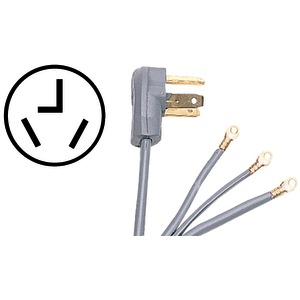 Certified Appliance Accessories(R) 90-1020 3-Wire Closed-Eyelet 30-Amp Dryer Cord, 4ft