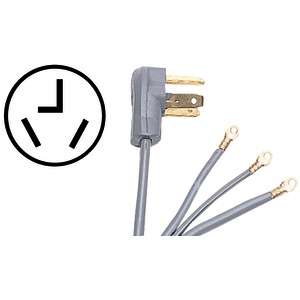 Certified Appliance Accessories(R) 90-1022 3-Wire Closed-Eyelet 30-Amp Dryer Cord, 5ft