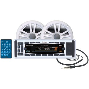 "BOSS AUDIO MCK1315W.60 MARINE MECHLESS RECEIVER WITH TWO 6.5"" MARINE SPEAKERS & IPOD(R) CONTROL"