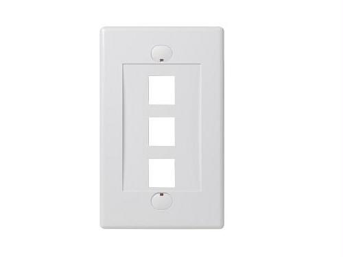 SINGLE GANG FACEPLATE - 3 PORTS - WHITE