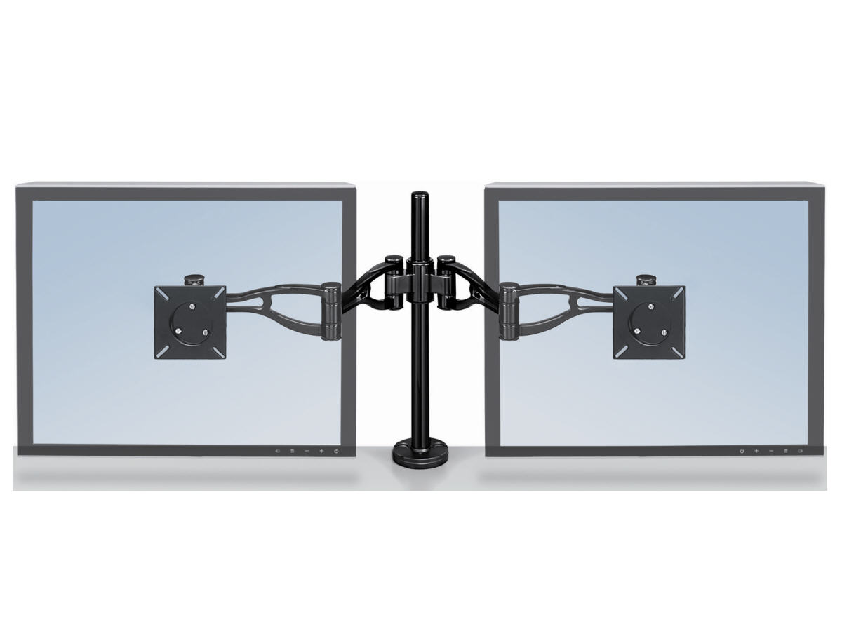 PROFESSIONAL SERIES DEPTH ADJUSTABLE DUAL MONITOR ARM FEATURES TWO MONITOR ARMS