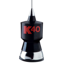 57.25 CB Antenna Kit with Stainless Steel Whip  Black w/Red K40 Logo