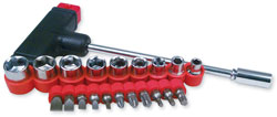 T-Bar Driver Set with 9 Sockets and 11 Bits  21-Piece