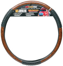 18 Comfort Grip Steering Wheel Cover  Black/Wood Grain