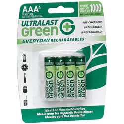AAA UL Green Pre-Charged Rechargeable NiMH Batteries - 750mAh  4-Pack