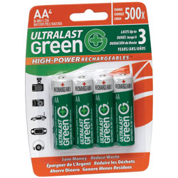 AA UL Green High Power Rechargeable NiMH Batteries - 2400mAh  4-Pack