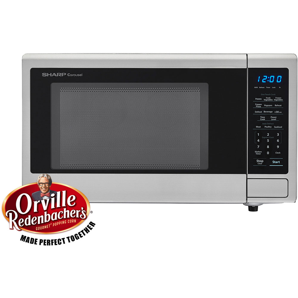 "1.1 cu ft 1000w touch microwave, 11.25"" turntable, Blue LED Display"