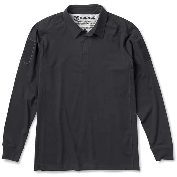 Professional Operator Cotton Polo, Long Sleeve, Black, XL